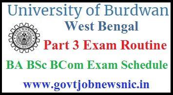 Burdwan University Part 3 Routine 2020