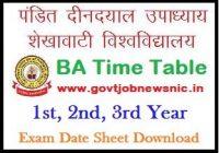 PDUSU BA Time Table 2020