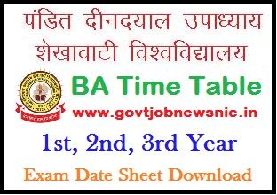 PDUSU BA Time Table 2020