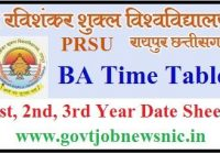 PRSU BA Time Table 2020
