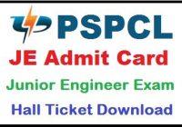 PSPCL JE Admit Card 2019