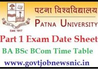 Patna University Part 1 Exam Date Sheet 2020