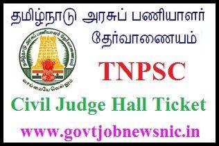 TNPSC Civil Judge Hall Ticket 2021