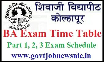 Shivaji University BA Time Table 2021