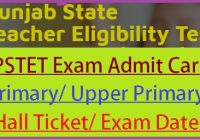 PSTET Admit Card 2019-20