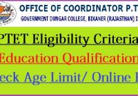 Rajasthan PTET Eligibility Criteria 2021