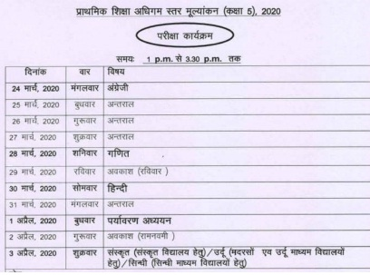 rbse 5th class date sheet 2020