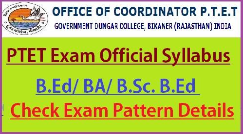 Rajasthan PTET Syllabus 2021
