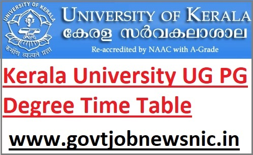 Kerala University UG PG Exam Date Sheet 2021