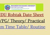 MDU Exam Date Sheet 2021