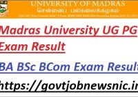 Madras University UG PG Exam Result 2021