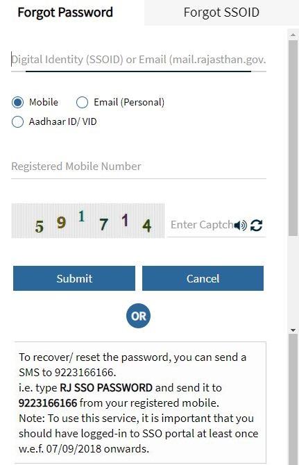 Forgot SSO ID Password