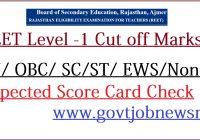 REET Level 1 Cut off Marks 2021