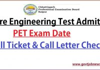 CG Vyapam PET Admit Card 2021